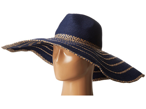 BCBGMAXAZRIA - Tribal Stripe Floppy Hat (Blue Depths) Traditional Hats