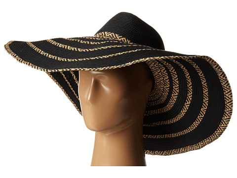 BCBGMAXAZRIA - Tribal Stripe Floppy Hat (Black) Traditional Hats