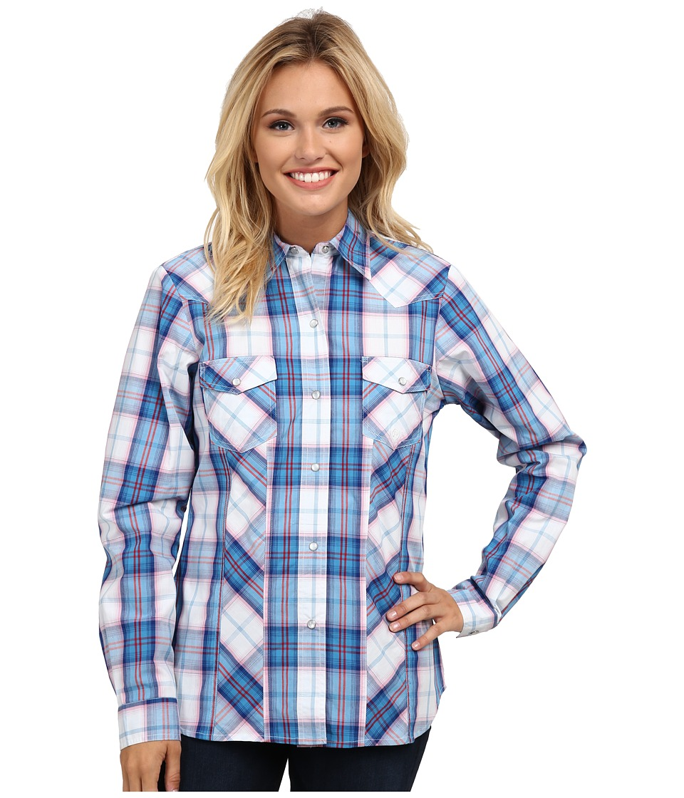 Roper - 9763 Blue Pacific Plaid (Blue) Women's Long Sleeve Button Up