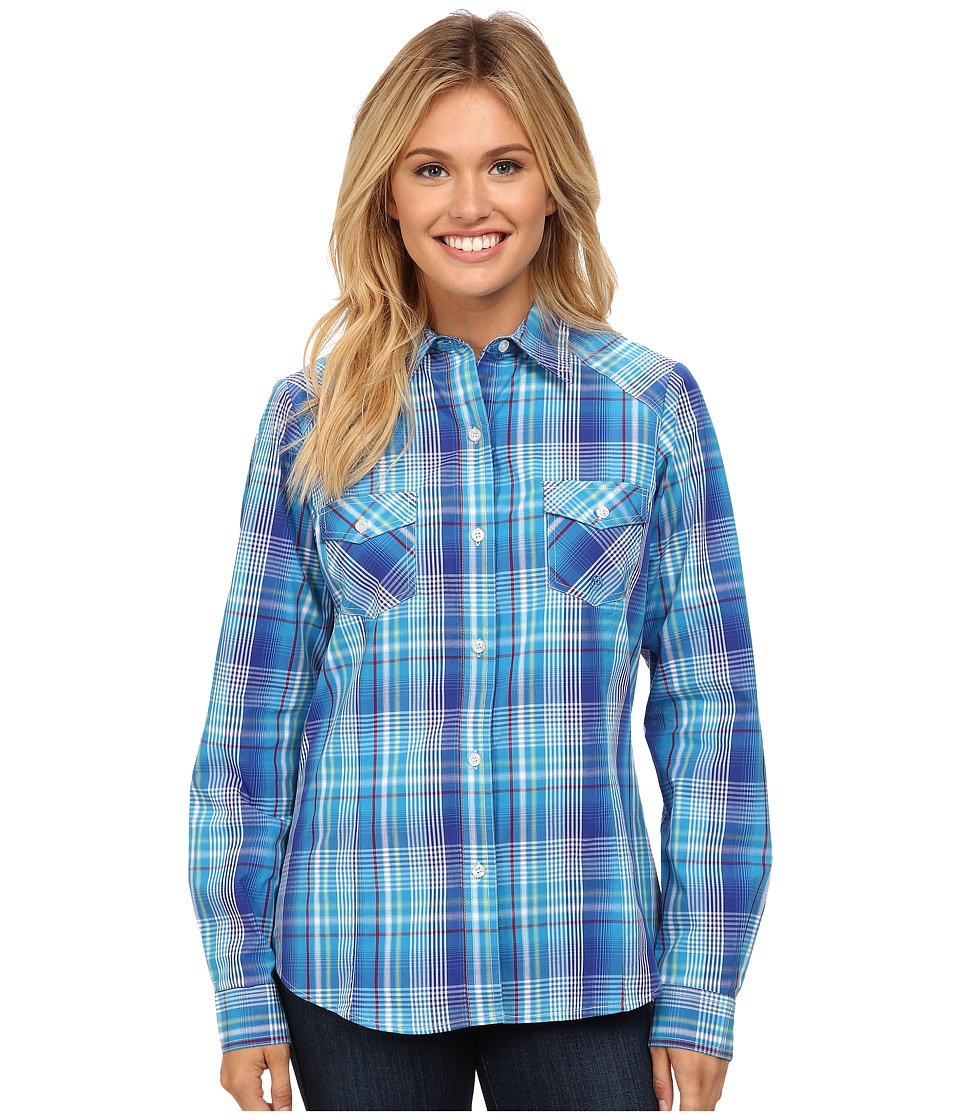 Roper - 9762 Breeze Plaid (Blue) Women's Long Sleeve Button Up