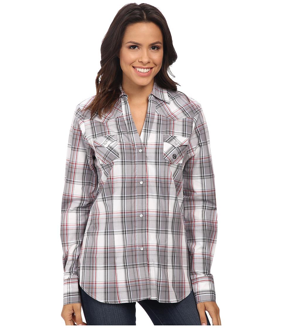 Roper - 9765 Grey Stone Plaid (Grey) Women's Clothing