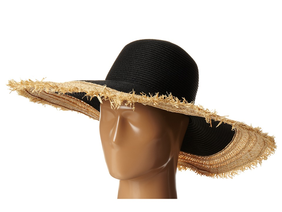 BCBGMAXAZRIA - Textural Frayed Floppy Hat (Black) Traditional Hats
