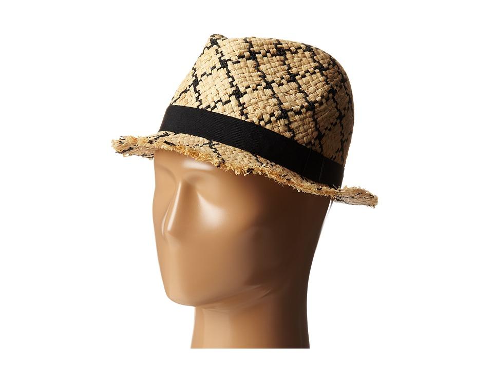 BCBGMAXAZRIA - Checked Fedora Hat (Natural) Fedora Hats