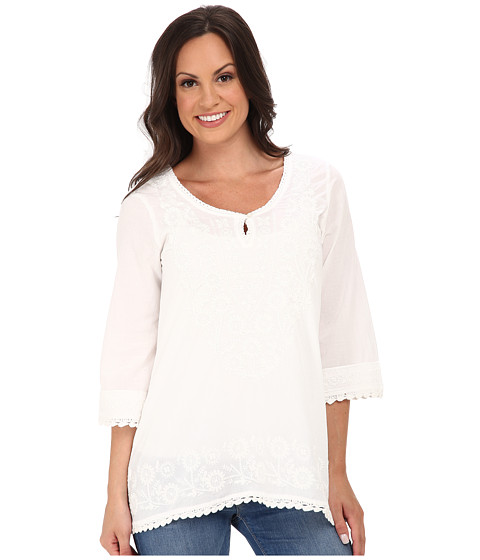 Roper - 9874 Cotton Voile Tunic Top (White) Women's Blouse