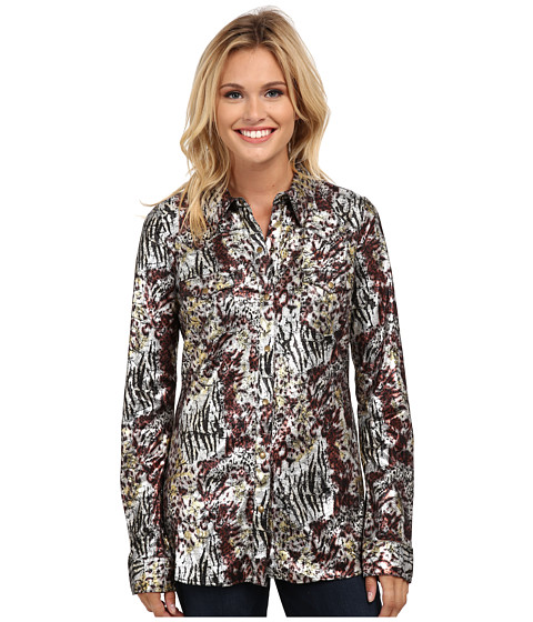 Roper - 9789 Poly Jersey Retro Shirt (Black) Women's Long Sleeve Button Up