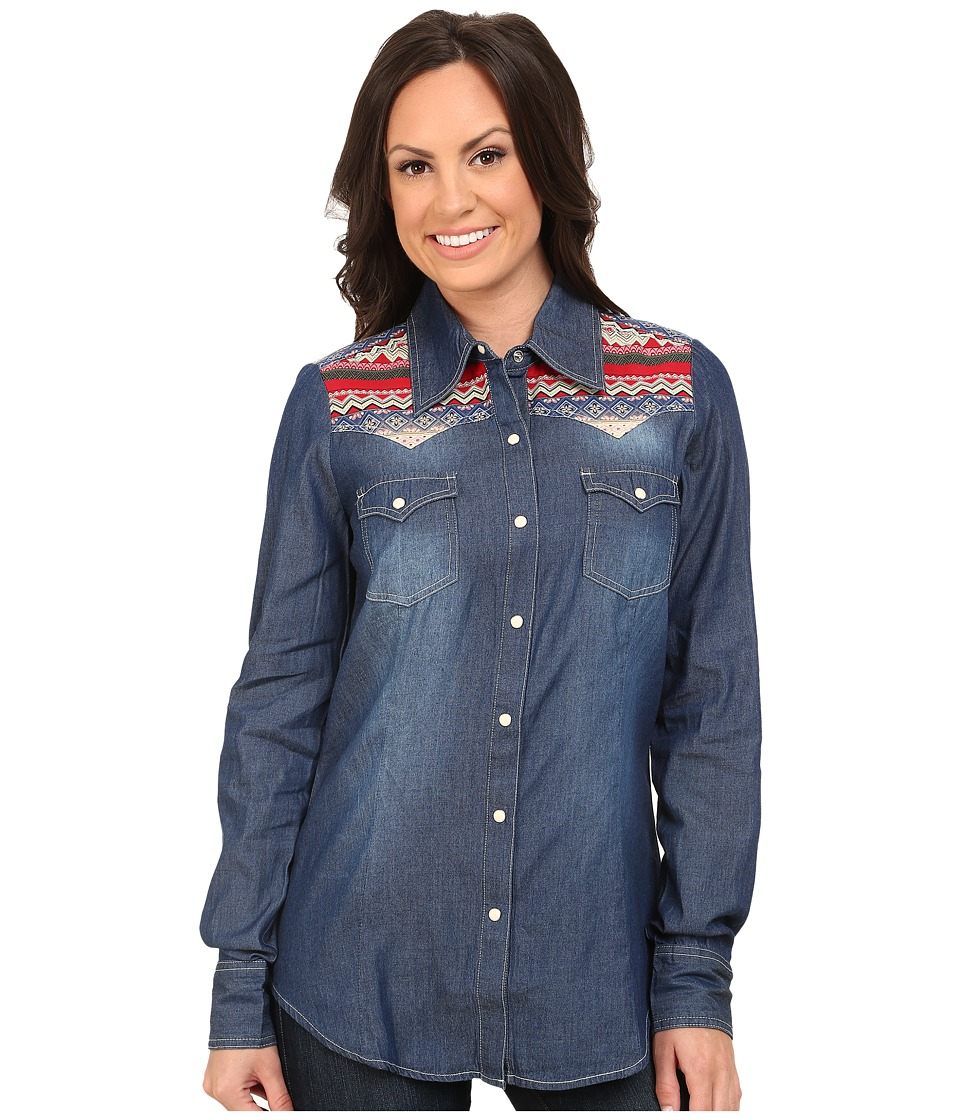Roper - 9751 5 Oz Denim L/S Shirt (Blue) Women's Clothing