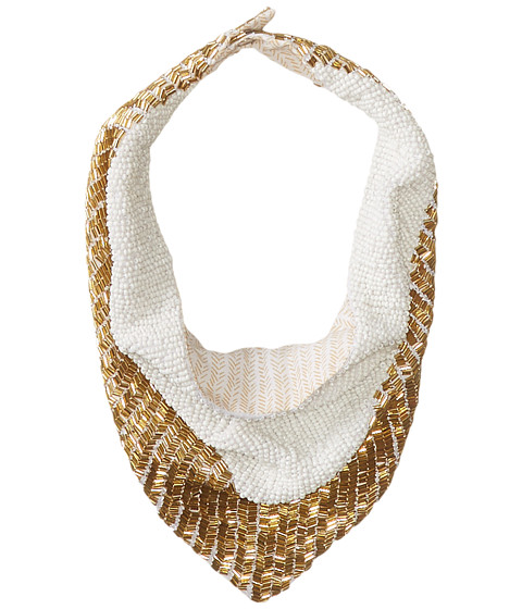 BCBGMAXAZRIA - Herringbone V-Necklace Scarf (White) Scarves