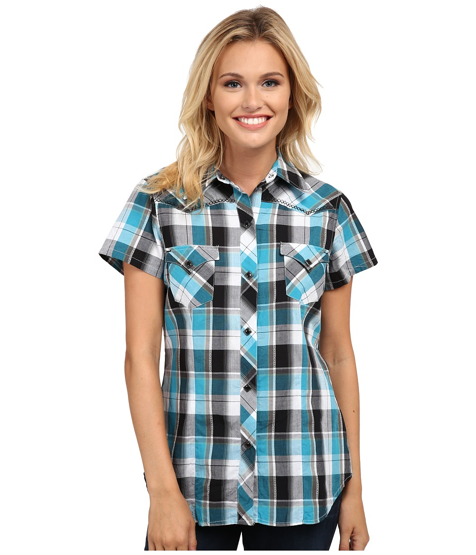 Roper - 9805 Travel Dobby (Blue) Women's Short Sleeve Button Up