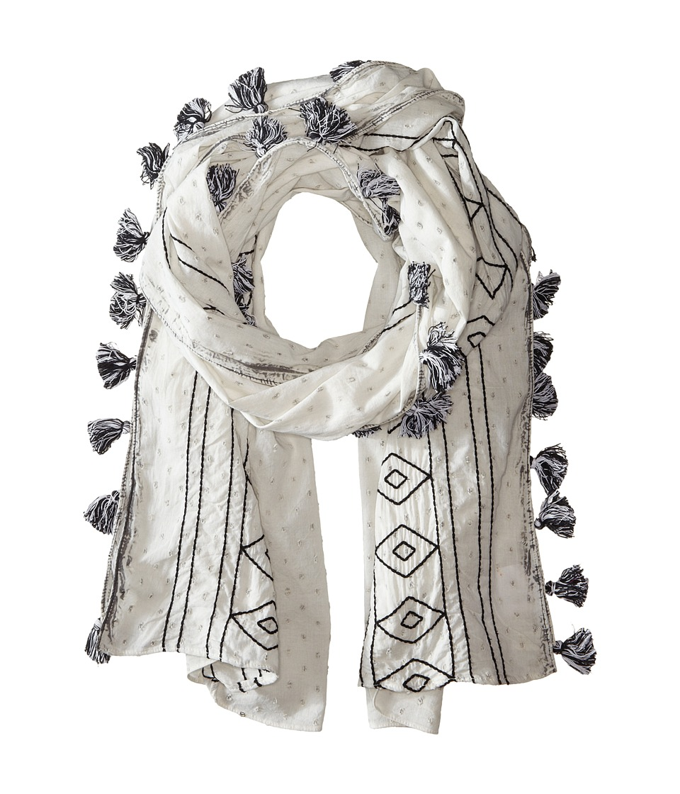 BCBGMAXAZRIA - Dotty Embroidered Wrap Scarf (Grey) Scarves