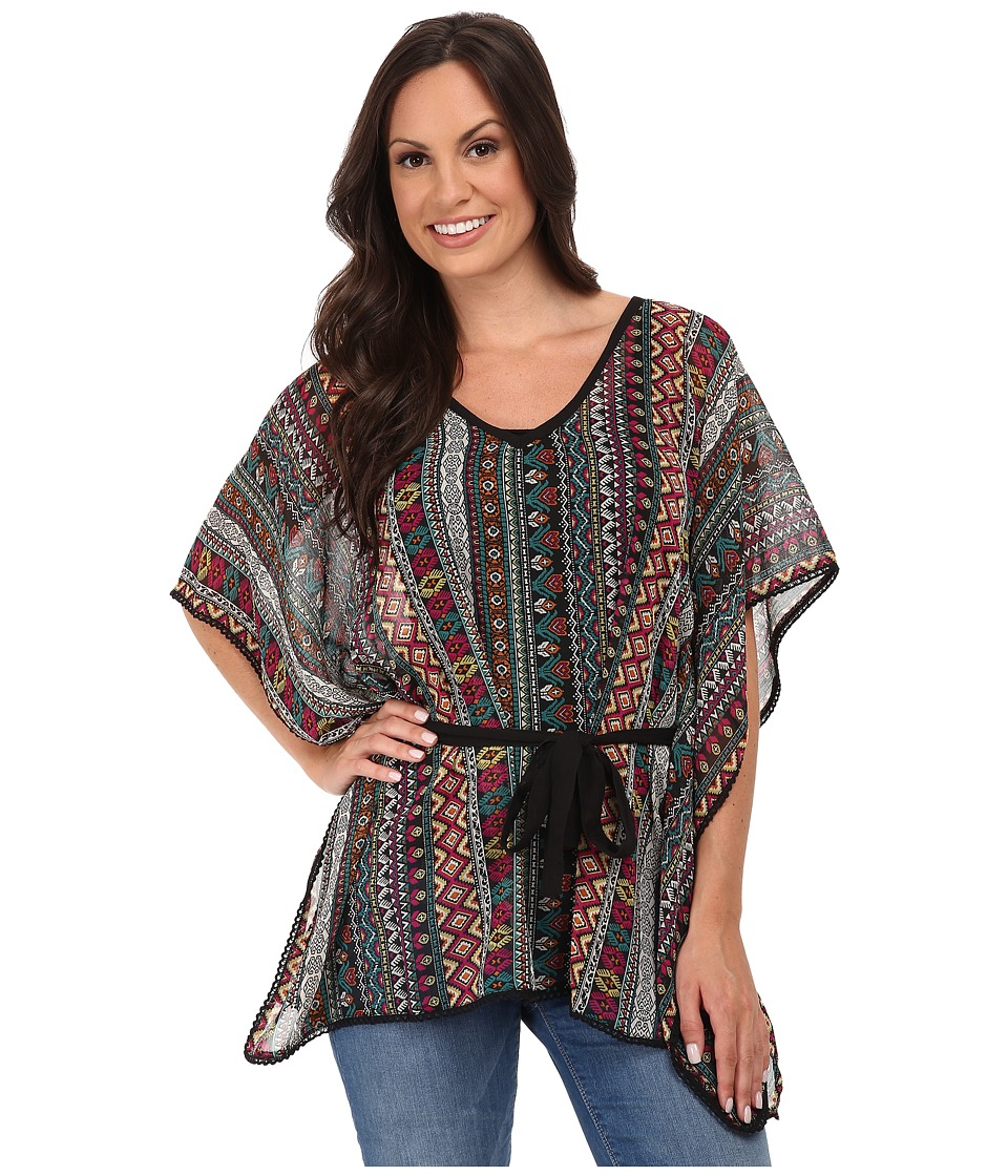 Roper - 9712 Aztec Printed Chiffon Blouse (Black) Women's Blouse