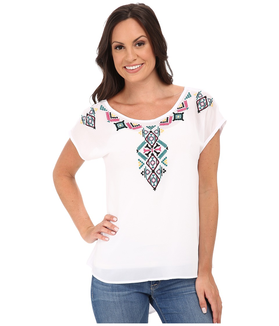 Roper - 9775 Solid Georgette Top - White (White) Women's Clothing