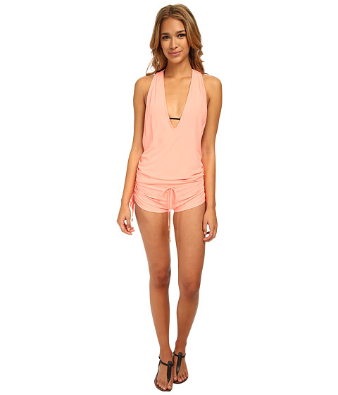 Luli Fama - Cosita Buena T-Back Romper Cover-Up (Miami Peach) Women