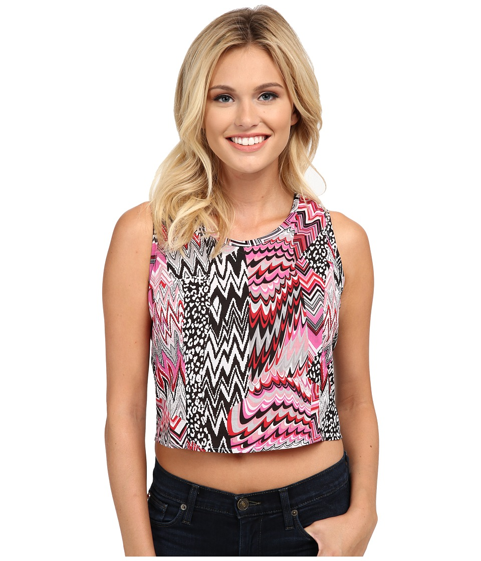 Roper - 9759 Crazy Patch Print Cropped Shirt (Pink) Women's Sleeveless