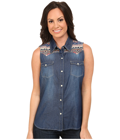 Roper - 9751 5 Oz Denim Sleeveless Shirt (Blue) Women's Clothing