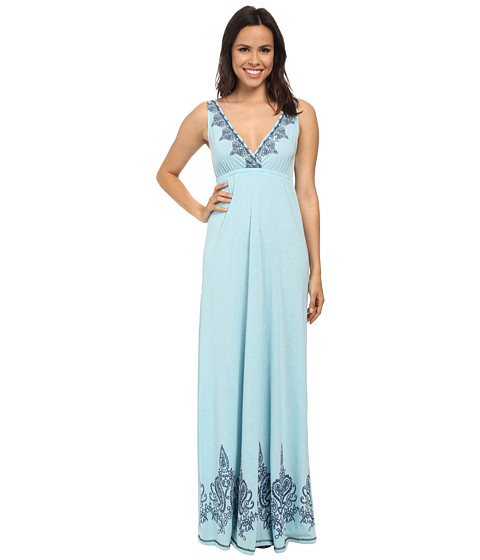 Roper - 9772 Poly Rayon Jersey S/L Maxi Dress (Blue) Women