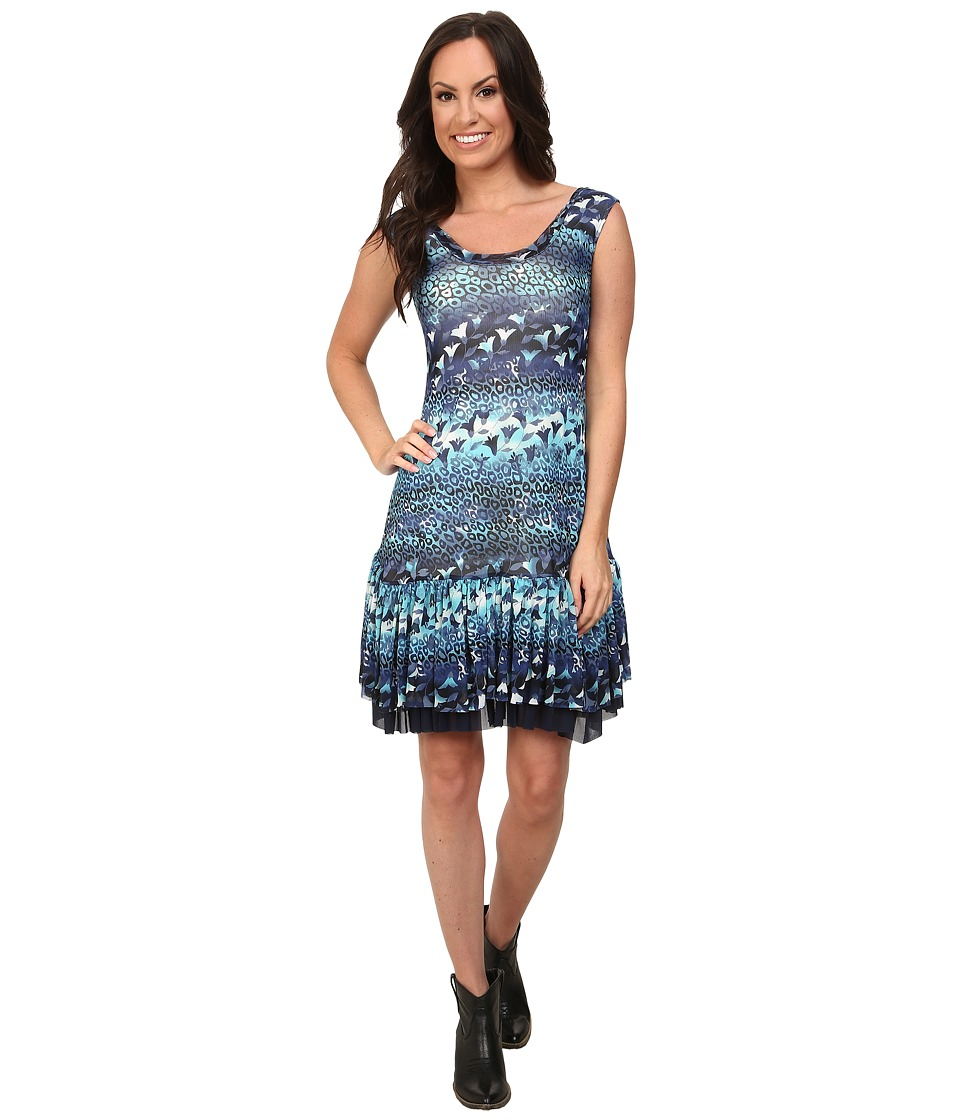 Roper 9757 Leopard Floral Printed Mesh Dress (Blue) Women