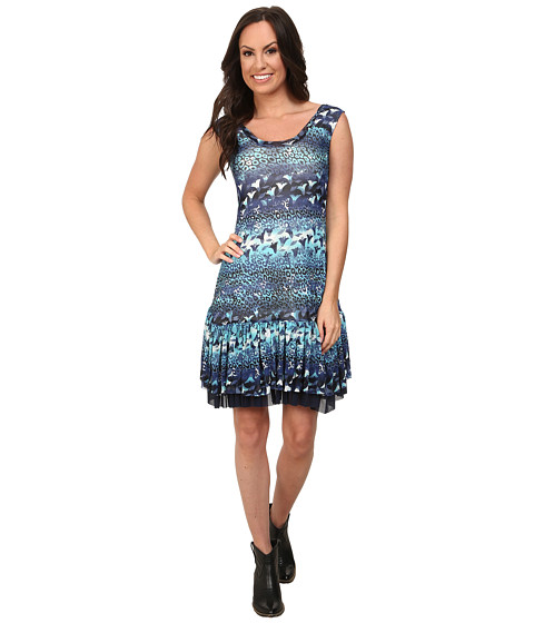 Roper - 9757 Leopard Floral Printed Mesh Dress (Blue) Women's Dress