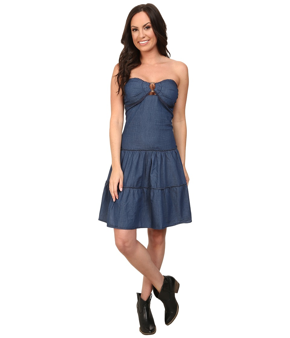 Roper - 9751 5 Oz Indigo Denim Flounced Dress (Blue) Women's Dress