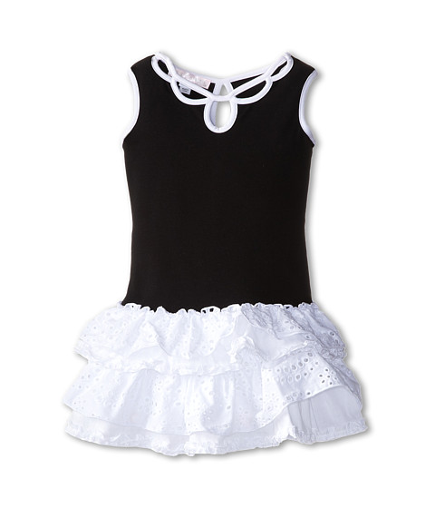 Biscotti - Pretty Chic Eyelet Knit Dress (Little Kids) (Black/White) Girl
