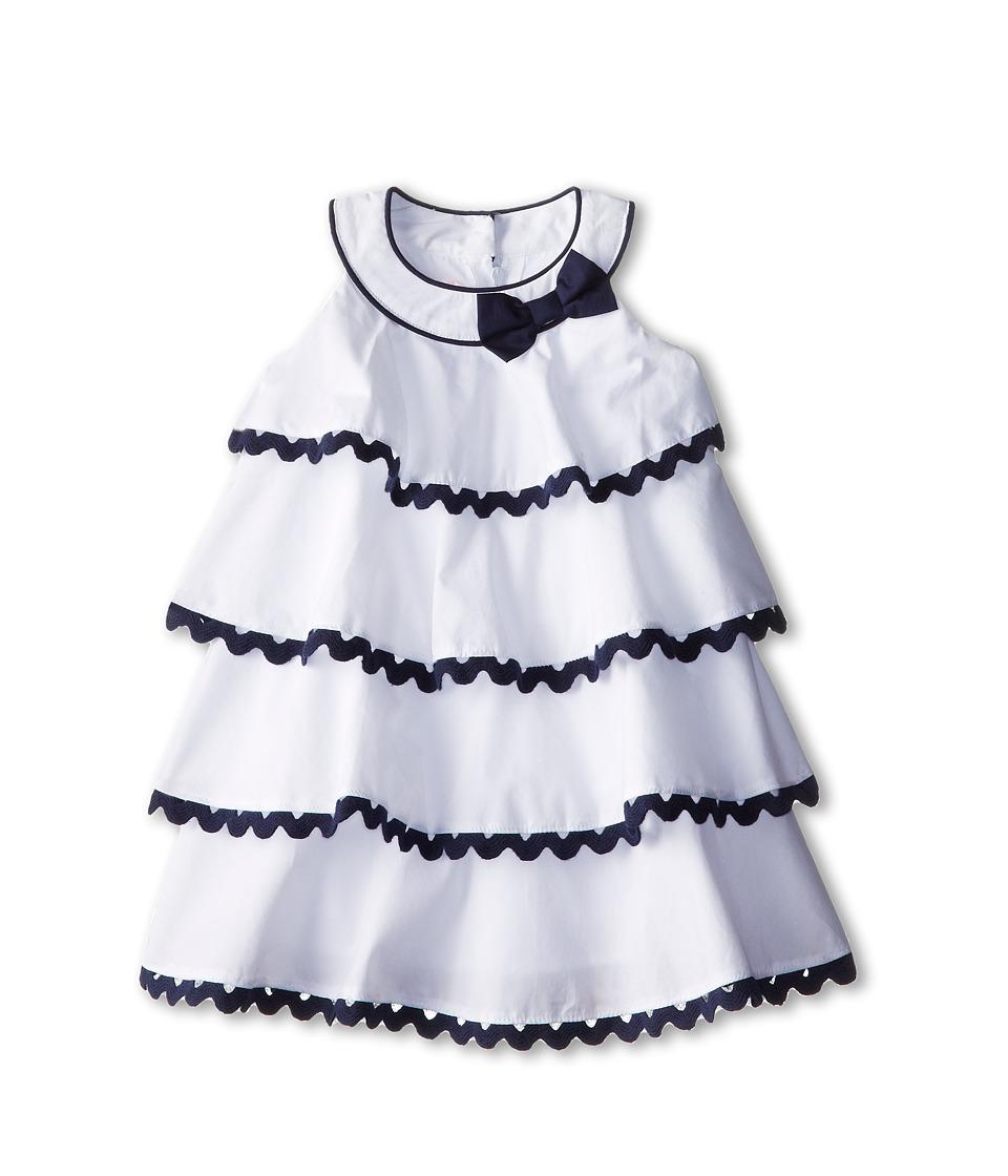 Biscotti - Ric Rac Rhumba Baby Dress (Infant) (White/Blue) Girl's Dress