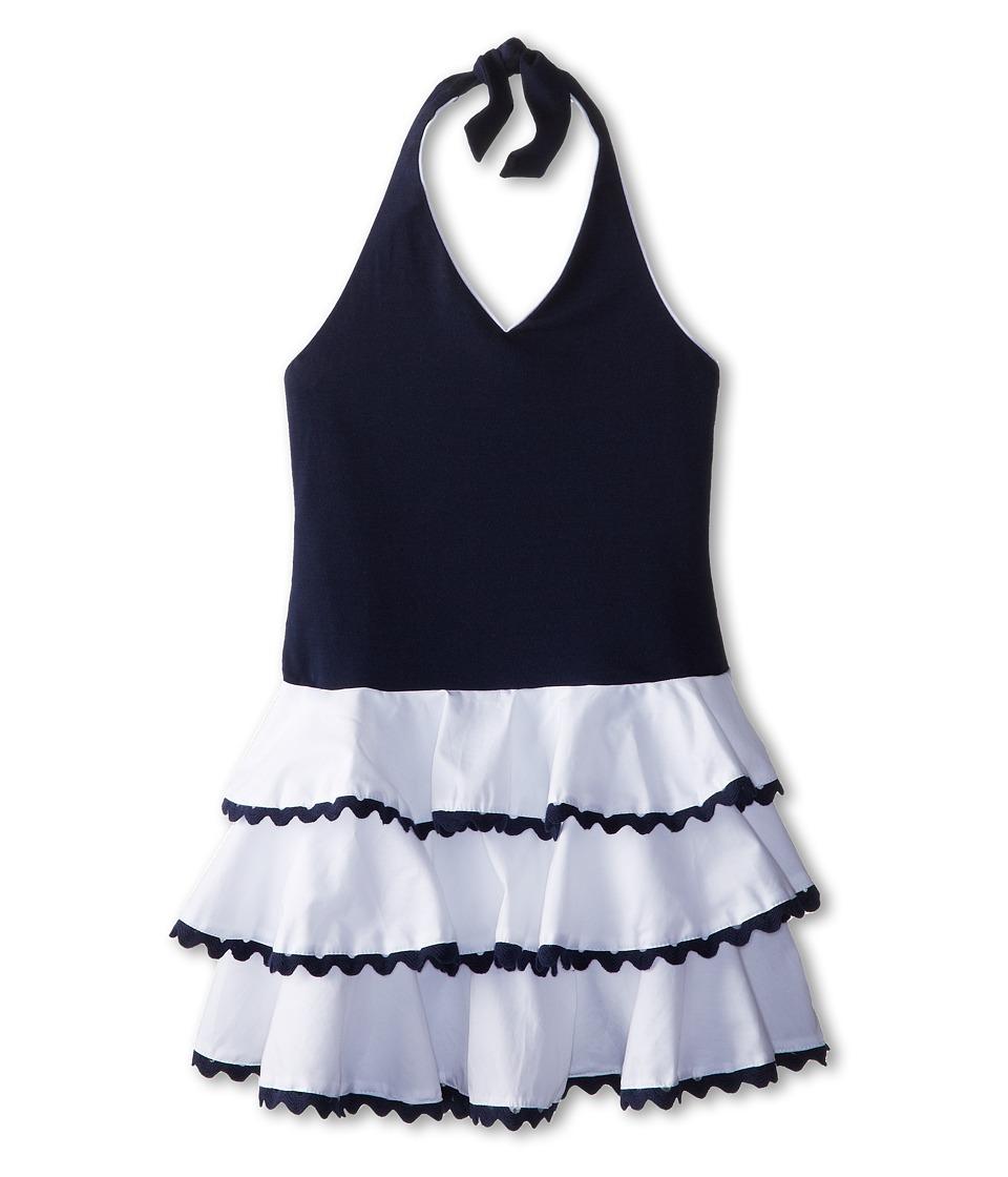 Biscotti - Ric Rac Rhumba Halter Dress (Toddler/Little Kids) (White/Blue) Girl's Dress