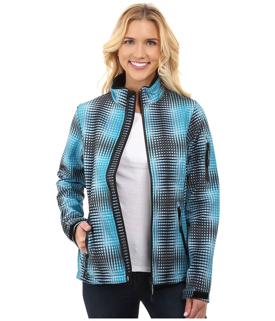 Roper - Turquoise Optical Print Softshell Jacket (Blue) Women's Coat