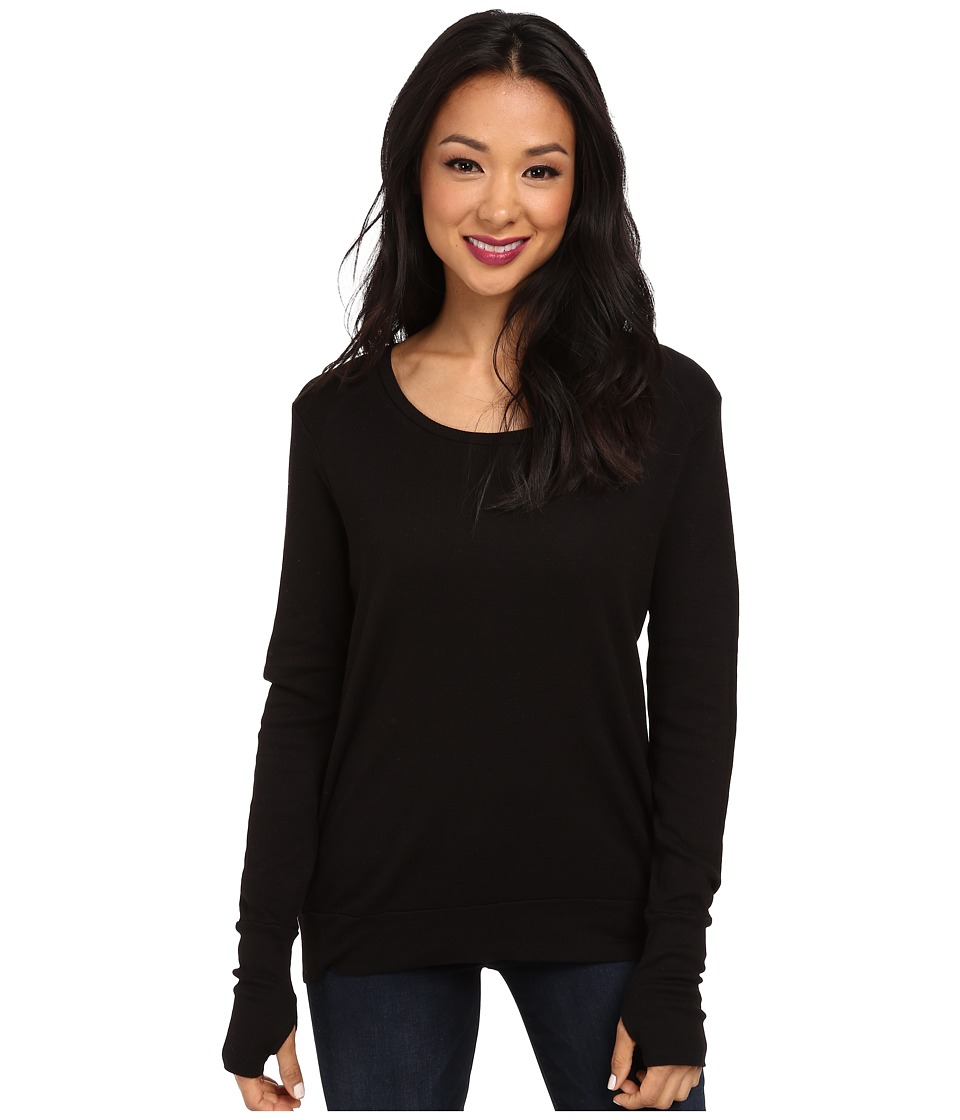 LAmade - Thermal Top With Thumbholes (Black) Women's Sweater
