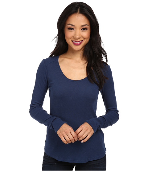 LAmade - L/S Plunge Rib Top (Starry Night) Women's Long Sleeve Pullover