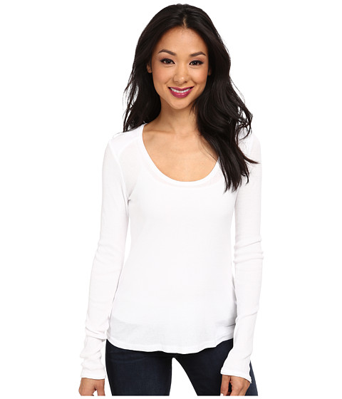 LAmade - L/S Plunge Rib Top (White) Women's Long Sleeve Pullover