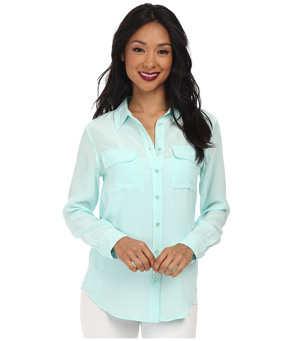 EQUIPMENT - Slim Signature Blouse (Spearmint) Women's Blouse