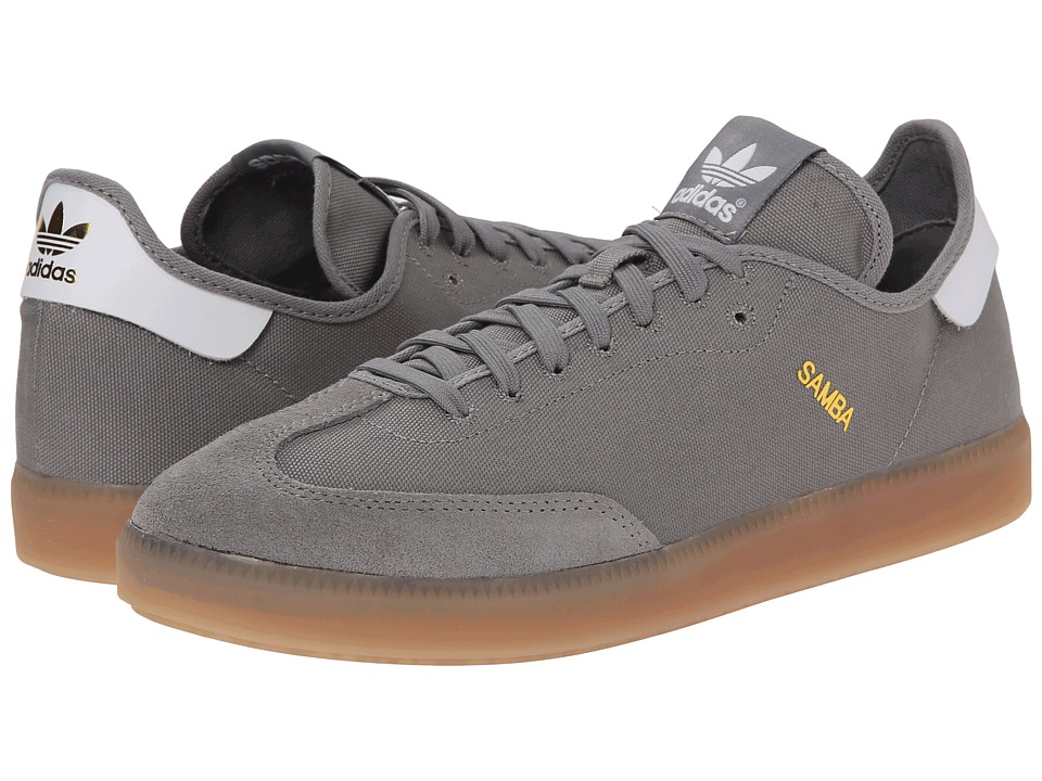adidas Originals - Samba MC (Solid Grey/White/Gold Metallic) Men's Soccer Shoes