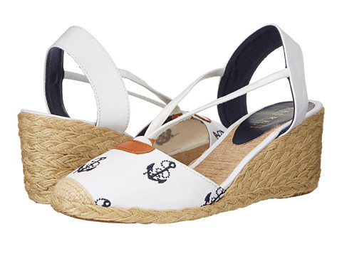 LAUREN by Ralph Lauren - Cala (White/Modern Navy (Anchor) Canvas Embroidered Critters) Women's Wedge Shoes