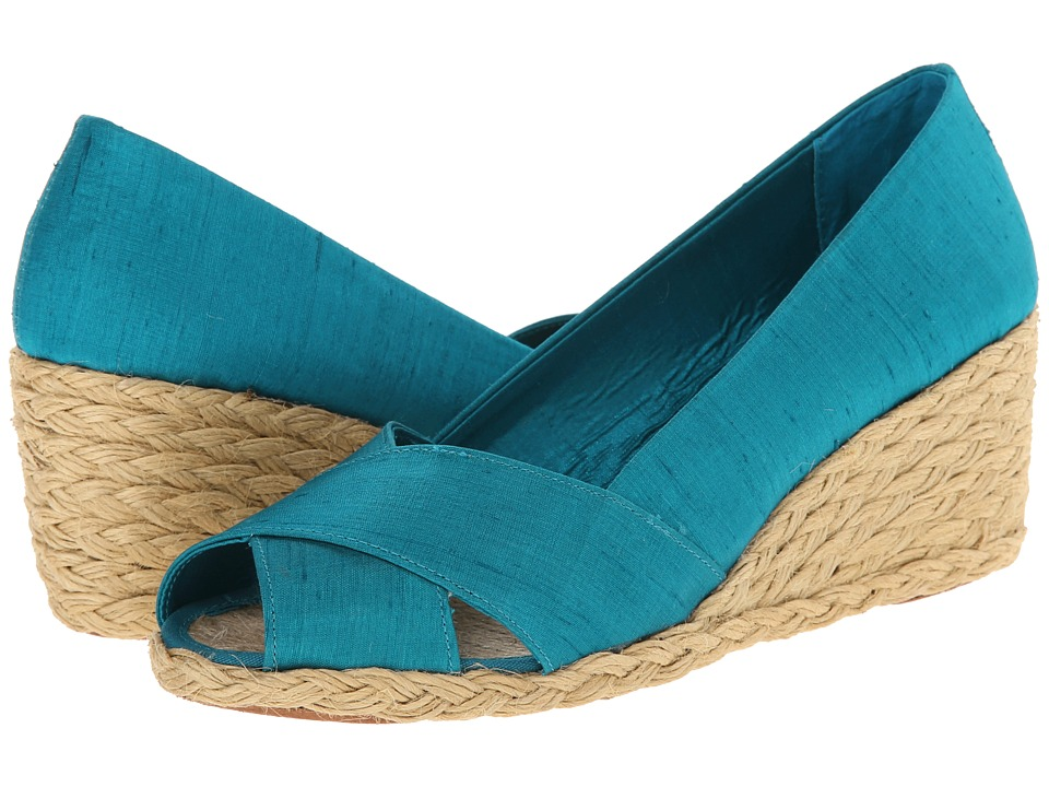 LAUREN by Ralph Lauren - Cecilia (Aqua Shantung) Women's Wedge Shoes
