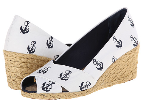 LAUREN by Ralph Lauren - Cecilia (White/Modern Navy (Anchor) Canvas Embroidered Critters) Women's Wedge Shoes