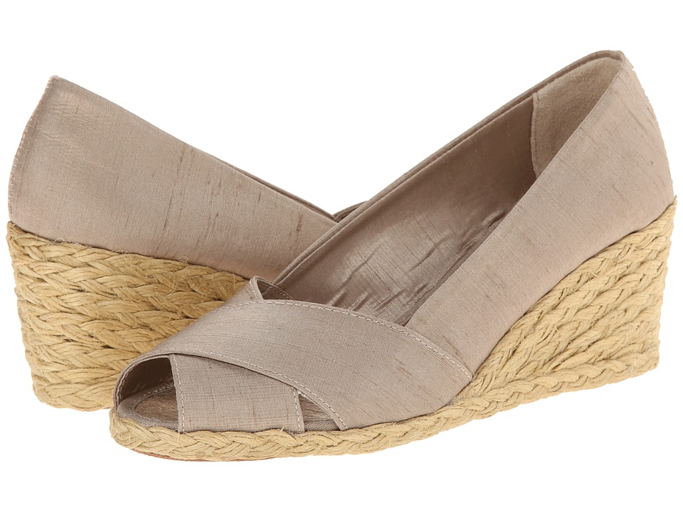 LAUREN by Ralph Lauren - Cecilia (Sand Shantung) Women's Wedge Shoes