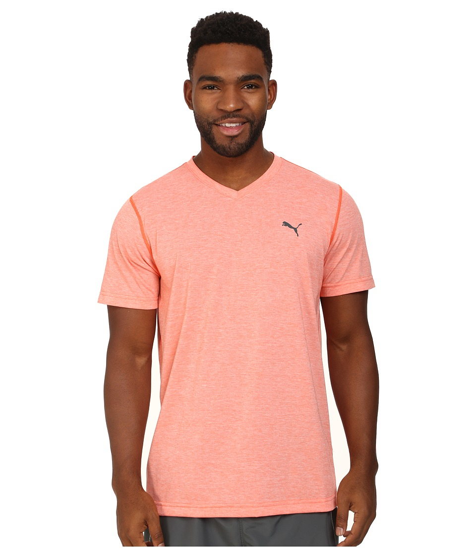 PUMA - Essential S/S V-Neck (Nasturium Heather) Men's Short Sleeve Pullover