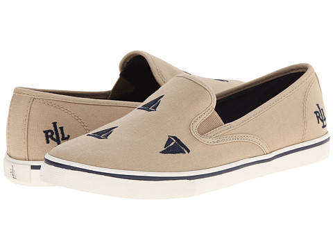 LAUREN by Ralph Lauren - Janis (Khaki/Modern Navy (Sailboats) Canvas Embroidered Critters) Women's Slip on Shoes