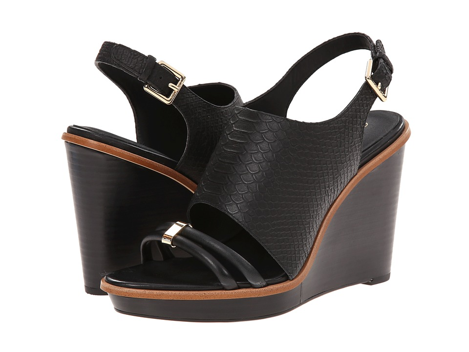 Calvin Klein - Prina (Black Baby Python) Women's Wedge Shoes