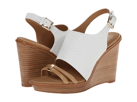 Calvin Klein - Prina (Sand Gold/Platinum White Patent Baby Python) Women's Wedge Shoes