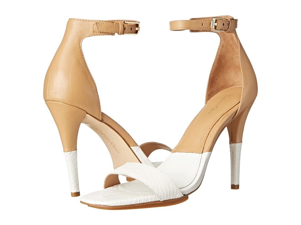 Calvin Klein Shanti (Platinum White/Sand Gold Nappa) High Heels