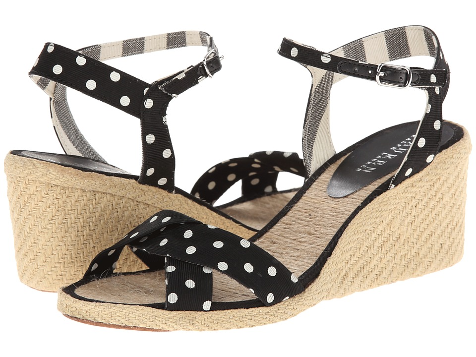 LAUREN by Ralph Lauren - Cheryl (Black/Eggshell Polka Dot Faille) Women's Wedge Shoes