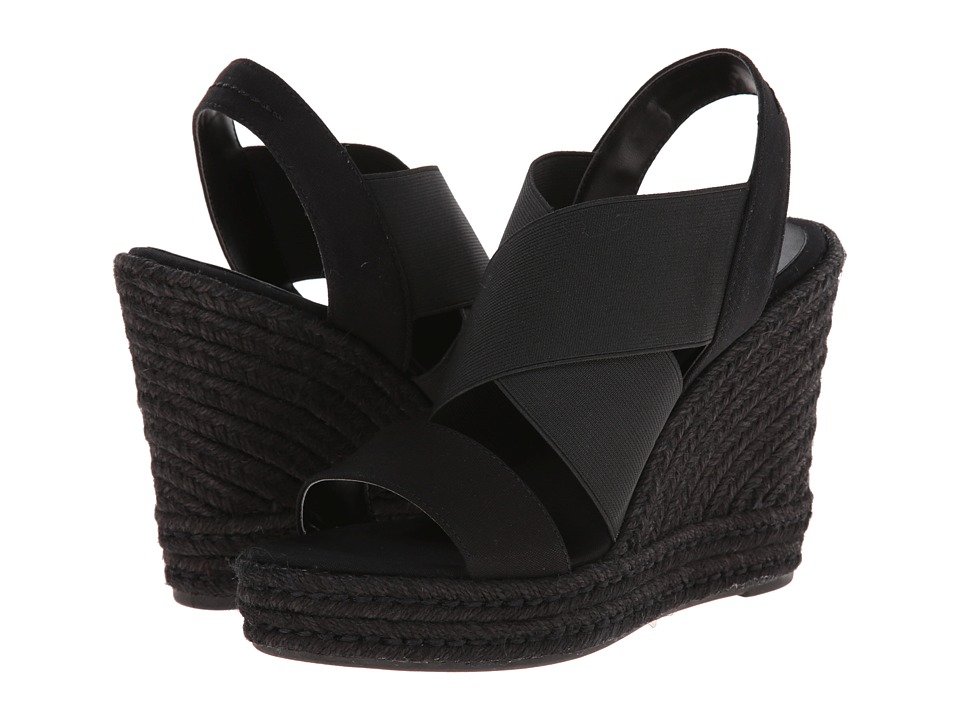 LAUREN by Ralph Lauren - Erica (Black Canvas/Elastic) Women's Wedge Shoes