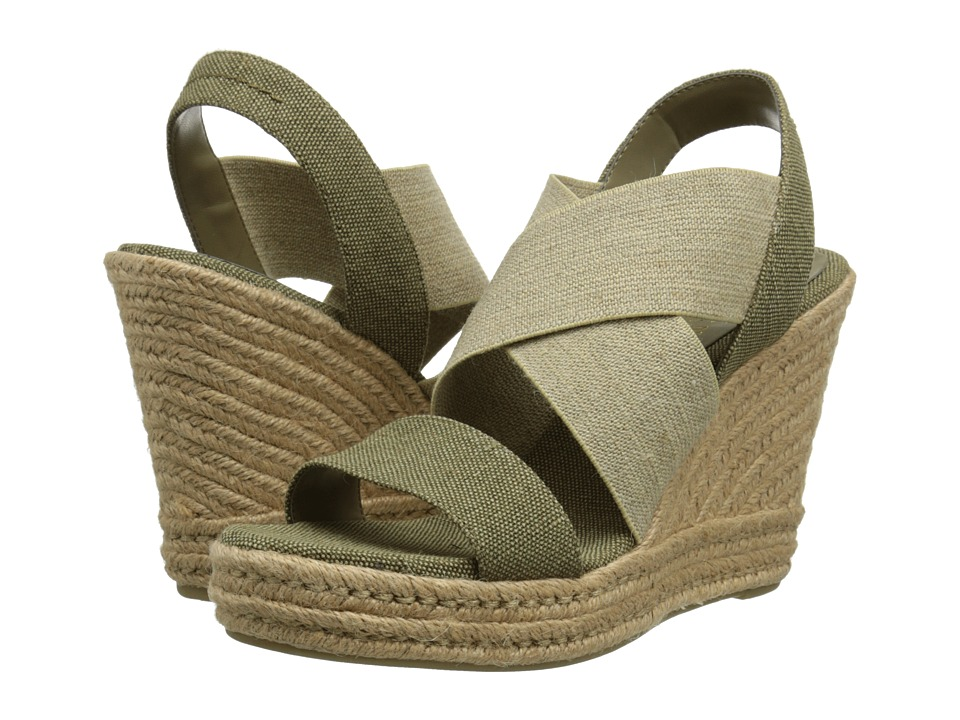 LAUREN by Ralph Lauren - Erica (Olive/Flax Faded Burlap/Twill Elastic) Women's Wedge Shoes