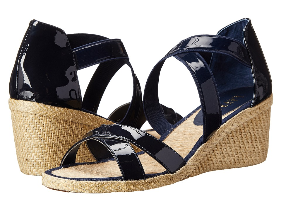 LAUREN by Ralph Lauren - Cortney (Modern Navy Patent/Patent Elastic) Women's Wedge Shoes