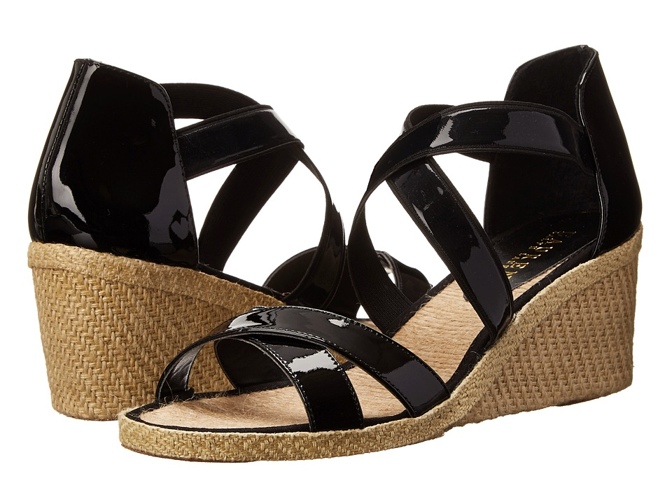 LAUREN by Ralph Lauren - Cortney (Black Patent/Patent Elastic) Women's Wedge Shoes