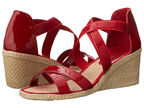 LAUREN by Ralph Lauren - Cortney (RL Bright Red Patent/Patent Elastic) Women's Wedge Shoes