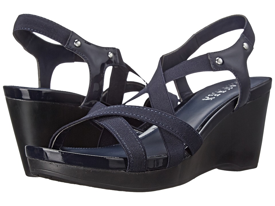 LAUREN by Ralph Lauren - Rikki (Modern Navy Patent/Elastic) Women's Wedge Shoes