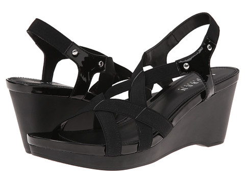 LAUREN by Ralph Lauren - Rikki (Black Patent/Elastic) Women's Wedge Shoes