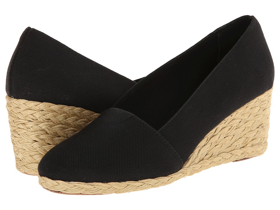 LAUREN by Ralph Lauren - Cynthia (Black Stretch Twill) Women's Wedge Shoes
