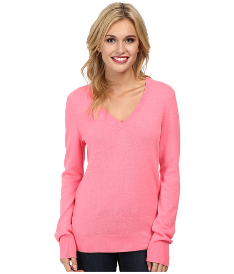 EQUIPMENT - Cecil V-Neck L/S Top (Watermelon) Women's Long Sleeve Pullover